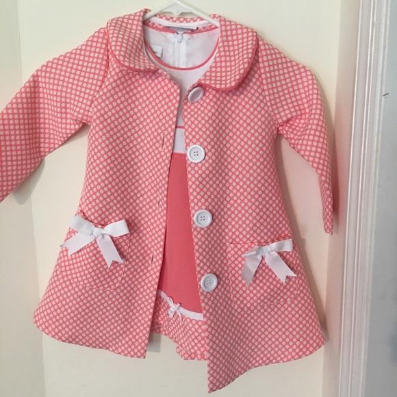 Bonnie Jean Little Girls Coral Polka Dot Easter Dress /& Coat Set 4 5 6 6X New